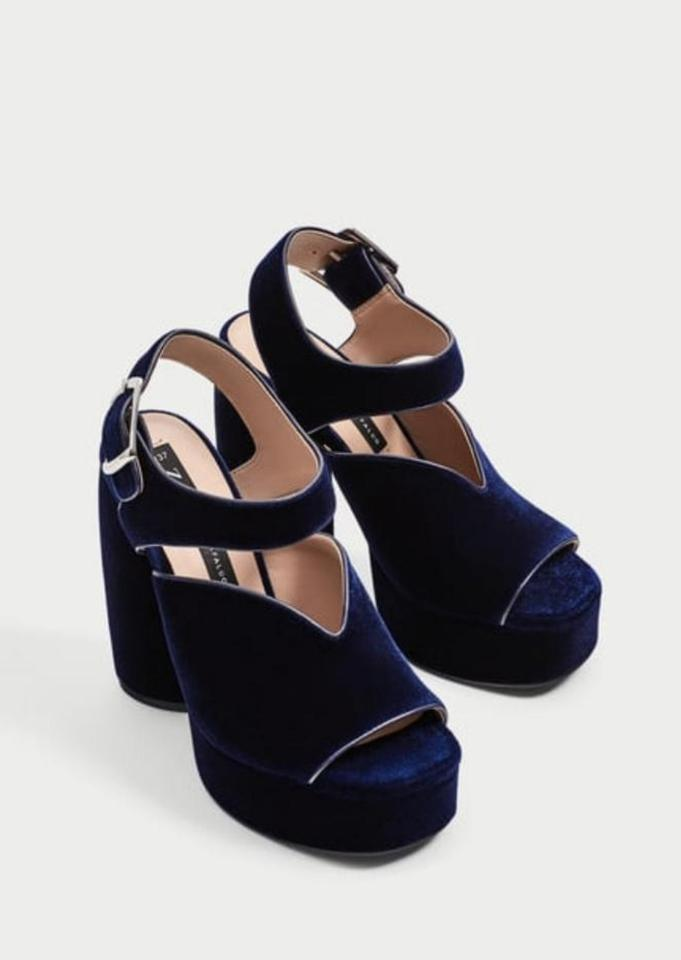 d3e9f71efc Zara Blue Velvet High Heel Sandals Platforms Size US 8 Regular (M, B) -  Tradesy