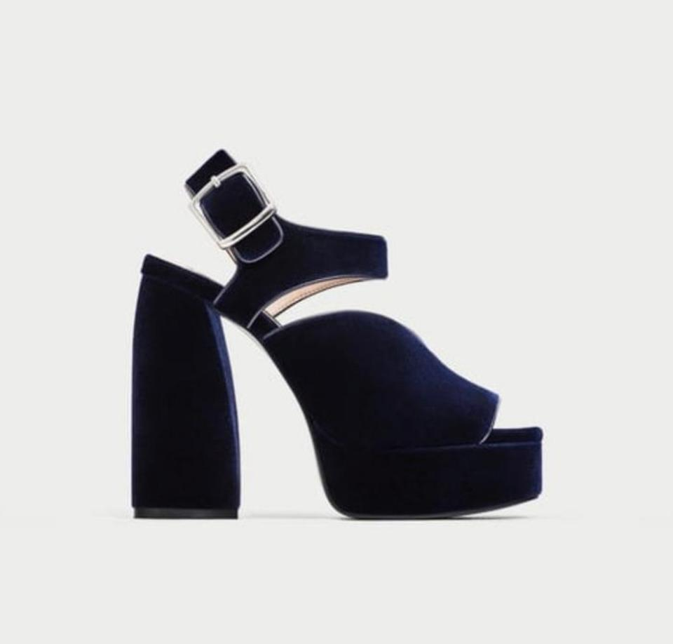 02e6e70854 Zara Blue Velvet High Heel Sandals Platforms Size US 8 Regular (M, B ...