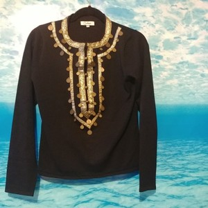 Carducci Top Black with gold accents and roman coins