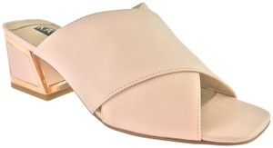 Kat Maconie Evening Date Mules Gold Hardware Light Pink Platforms