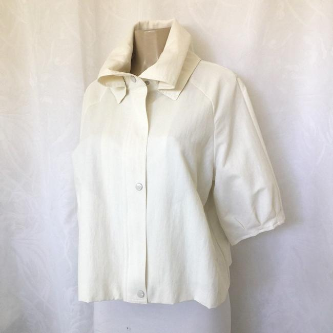 Samuel Dong Cropped Cape White Jacket