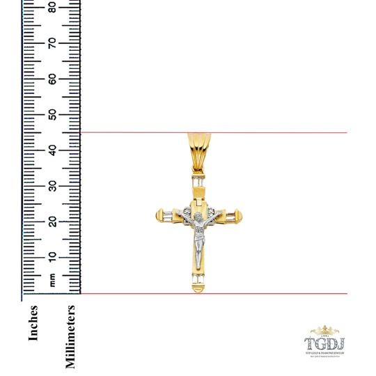 Top Gold & Diamond Jewelry 14K Yellow White Gold CZ Religious Crucifix Pendant