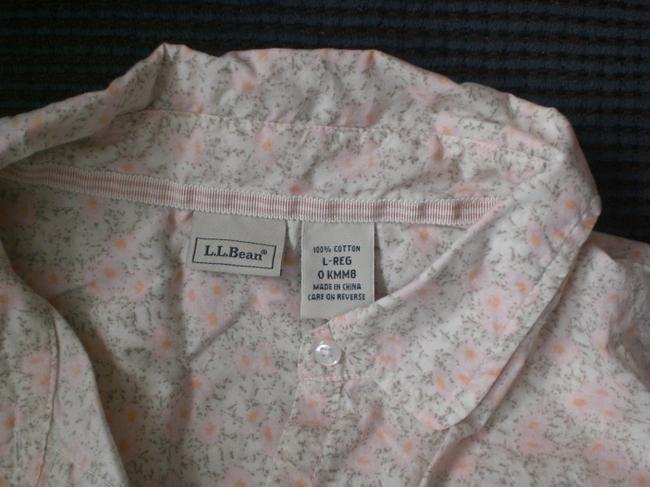 L L BEAN Button Down Shirt Cream background, peach and tan flowers