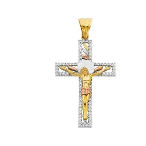 Top Gold & Diamond Jewelry 14K Yellow White Rose Gold CZ Religious Crucifix Pendant