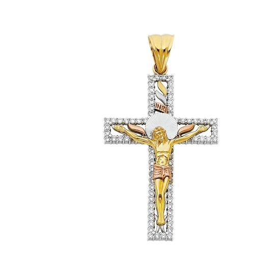 Preload https://img-static.tradesy.com/item/23104027/tri-color-14k-yellow-white-rose-religious-crucifix-pendant-charm-0-0-540-540.jpg