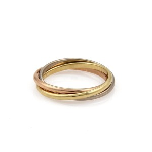 Cartier Trinity 18k Tricolor Gold 1.3mm Rolling Band Ring Size 47-US 4 Cert
