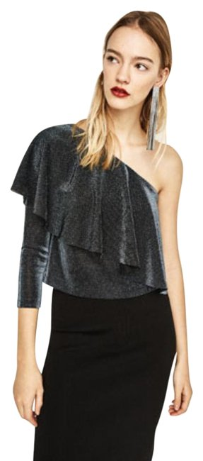 Preload https://img-static.tradesy.com/item/23104186/zara-sparkling-blue-34-sleeve-large-frill-one-shoulder-crop-night-out-top-size-6-s-0-1-650-650.jpg