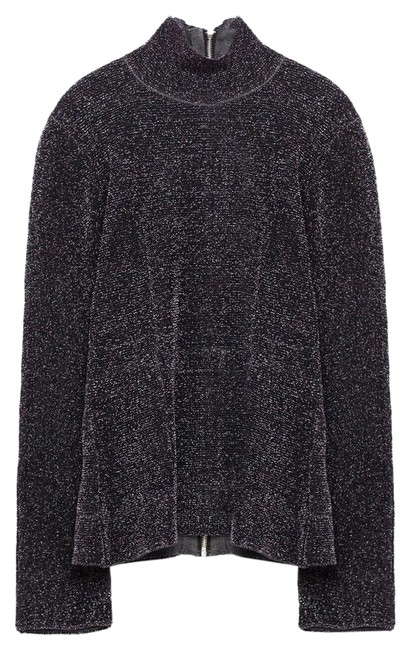 Preload https://img-static.tradesy.com/item/23104223/zara-black-shimmer-thread-double-sided-high-neck-new-sweaterpullover-size-10-m-0-1-650-650.jpg