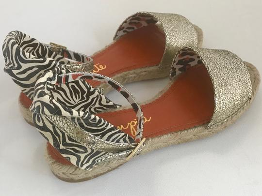 Charlotte Olympia Animal Print Leather Gold Wedges Ankle Strap Metallic Multi Orange Black White Sandals