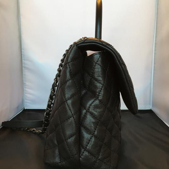 Chanel Coco Pebbled Leather Satchel in Black
