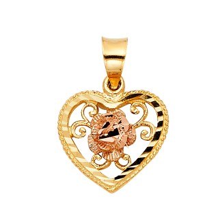Top Gold & Diamond Jewelry 14K Yellow White Gold Heart with Rose Pendant