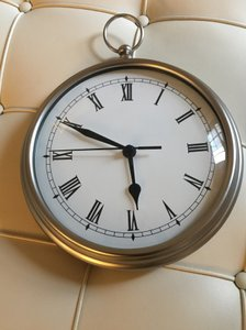 Pottery Barn Brushed Steel Wall Display Clock Watch Household Electronics