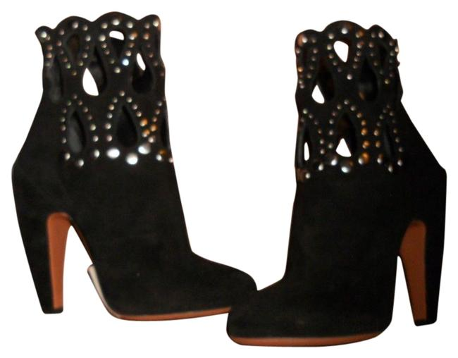 ALAÏA Black Suede Studded Grommet Rivet Cutout Ankle Boots/Booties Size EU 38 (Approx. US 8) Regular (M, B) ALAÏA Black Suede Studded Grommet Rivet Cutout Ankle Boots/Booties Size EU 38 (Approx. US 8) Regular (M, B) Image 1