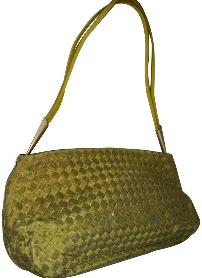 35126c54fde2 Bottega Veneta Woven Lime Green Raw Silk Leather Strap Shoulder Bag ...