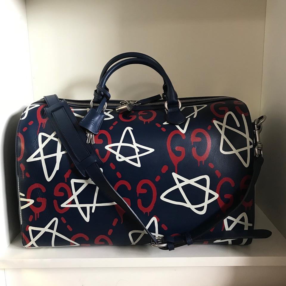 71dca7aae4e4 Gucci Guccighost Duffel Navy Leather Weekend Travel Bag - Tradesy