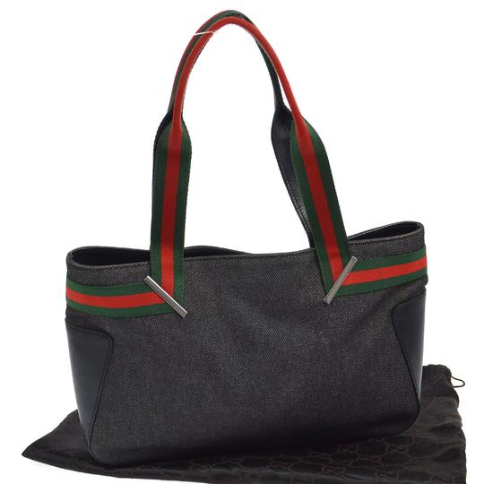 Preload https://img-static.tradesy.com/item/23104444/gucci-vintage-pursesdesigner-purses-black-denim-and-black-leather-with-redgreen-shelly-stripe-accent-0-0-540-540.jpg