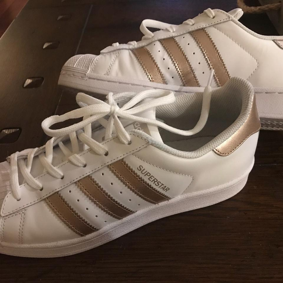 adidas White with Rose Gold Sneakers Superstar Sneakers Gold 22964b