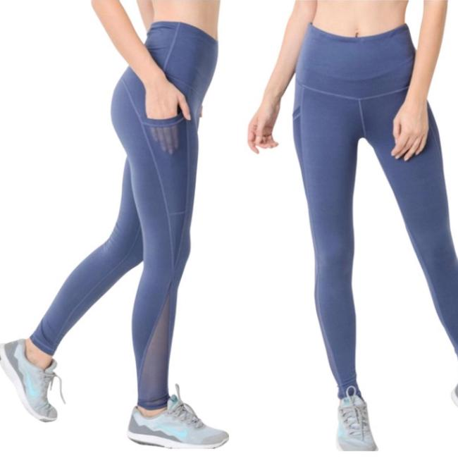 dalia + jade S Blue Mesh Yoga Pants with Pockets High Waist NOT SEE THROUGH