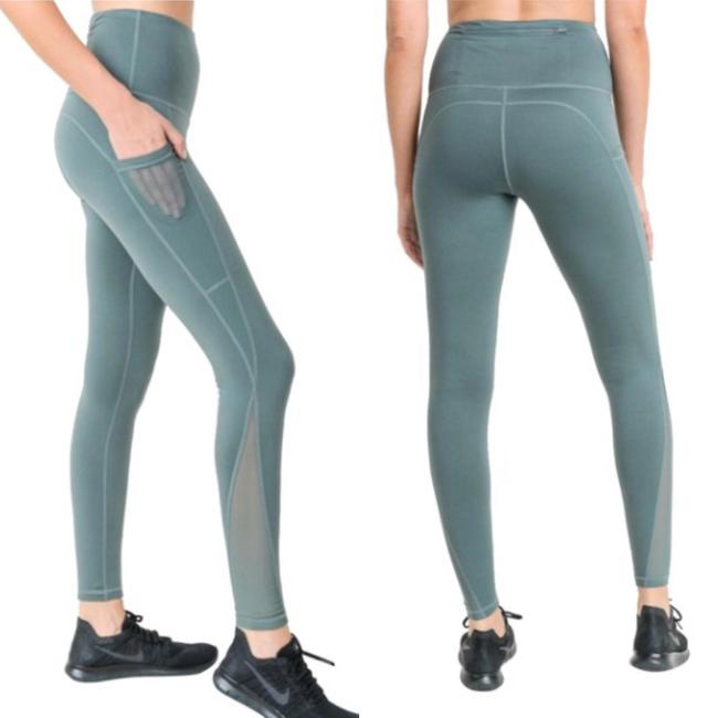 dalia + jade L Light Teal Mesh Yoga Pants with Pockets High Waist NOT SEE THROUGH