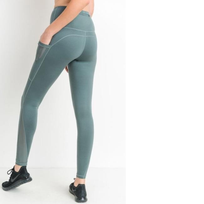 Mono B M Light Teal Mesh Yoga Pants with Pockets High Waist NOT SEE THROUGH