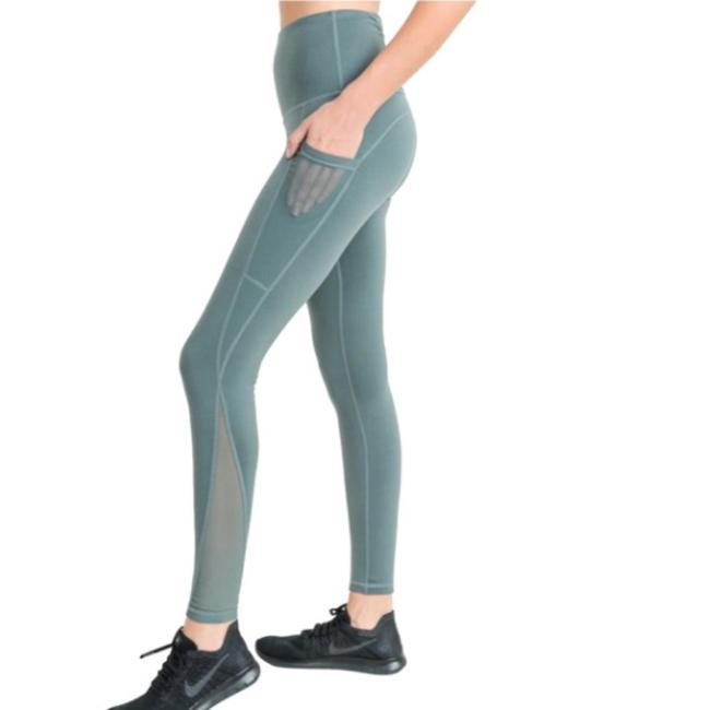 Mono B S Light Teal Mesh Yoga Pants with Pockets High Waist NOT SEE THROUGH