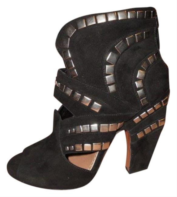Item - Black Suede Studded Cutout Open Toe Ankle Boots/Booties Size EU 36 (Approx. US 6) Regular (M, B)