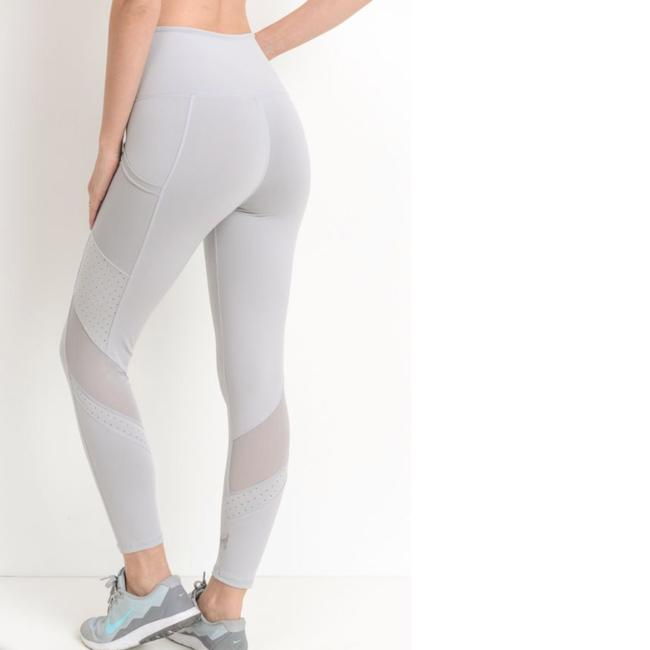 dalia + jade S Mesh Dots Gray Yoga Pants Pockets High Waist Tummy Control Leggings