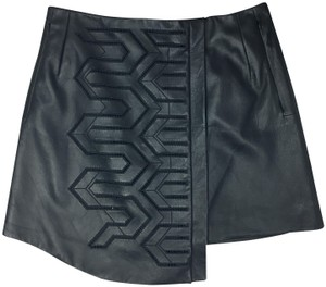 Tibi Faux Leather Cut-out Mini Night Out Fall Mini Skirt BLACK