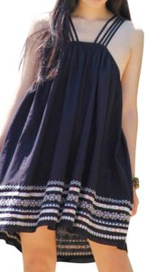 Free People short dress Black Sleeveless Embroidered Strappy Shift on Tradesy