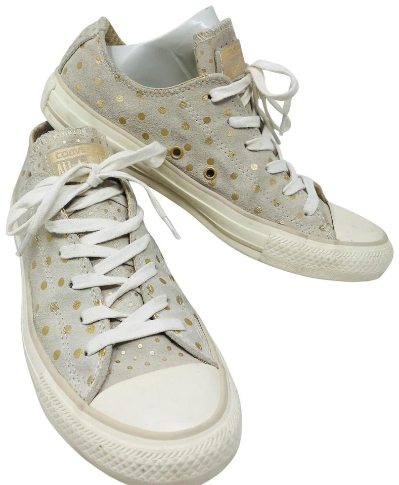 790c76f1559299 Converse Grey and Gold Light Suede Polka Dot Low Top Sneakers ...