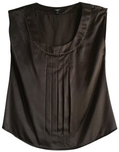 Talbots Silk Beaded Studded Embellished Pleated Top Brown