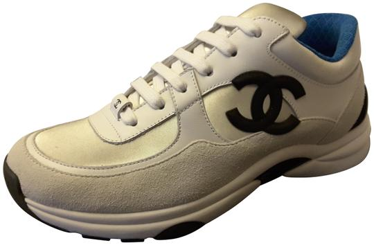 Preload https://img-static.tradesy.com/item/23104803/chanel-white-2018-trainers-leather-silver-blue-sneakers-sneakers-size-eu-395-approx-us-95-regular-m-0-1-540-540.jpg