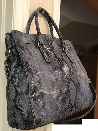 Michael Kors Hamilton Embossed Leather Python Tote in Denim Blue