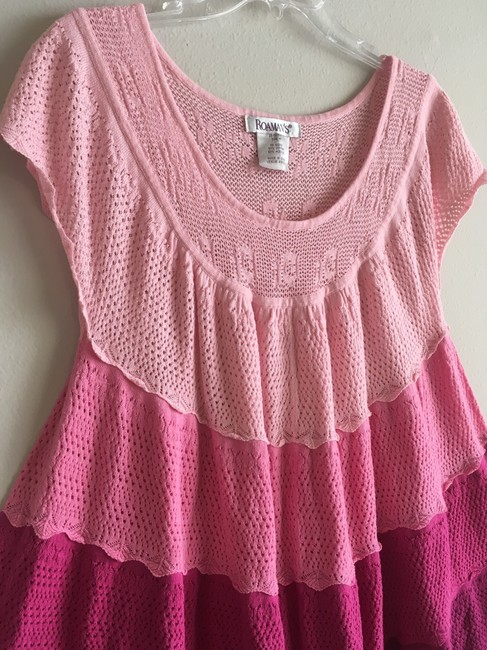 Boutique Vintage Crochet Embroidered Oversized Top Pink, Pastel, Fuchsia