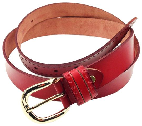 Ocean Fashion Gold buckle mini stars red leather belts