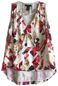 White House | Black Market Sleeveless Floral Silk V-neck Stretchy Top Red, Black