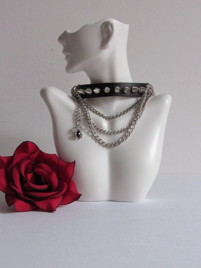 Other Leather Punk Rock Gothic Choker w/Multi Layer Chains Studs