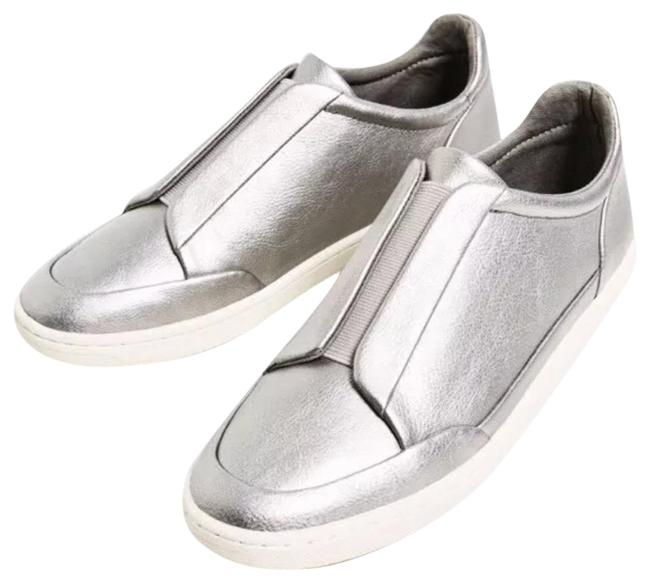 Item - Silver Laminated Stretch Sneakers Flats Size US 6.5 Regular (M, B)