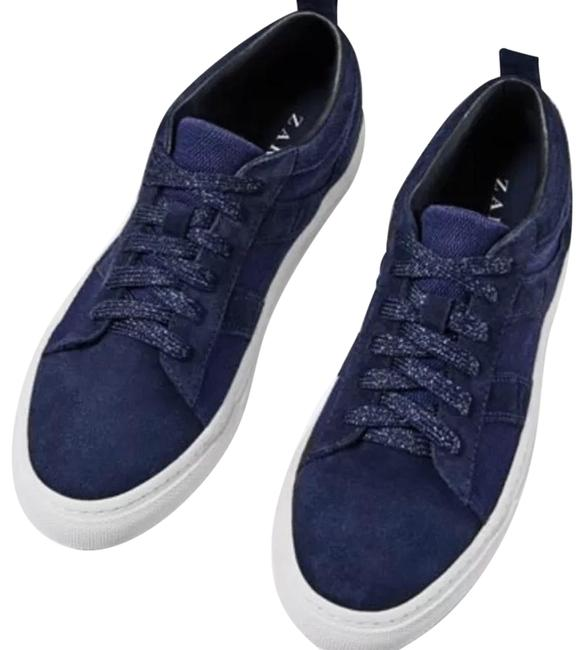 Item - Blue Leather Lace-up Sneakers Flats Size US 10 Regular (M, B)