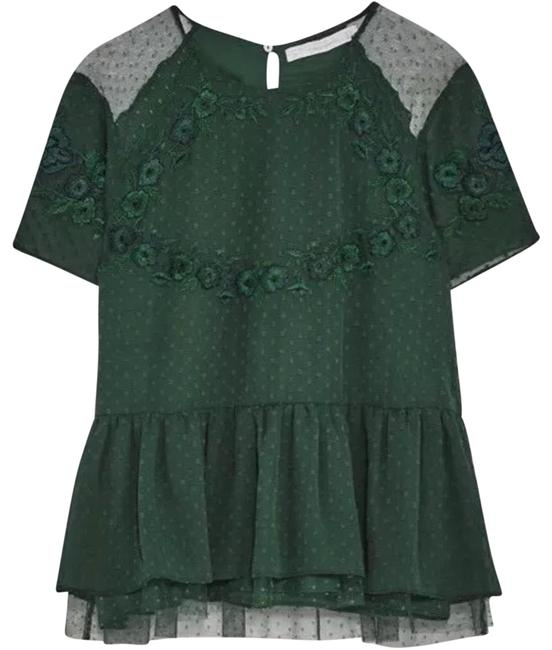 Preload https://img-static.tradesy.com/item/23105148/zara-green-mesh-floral-tops-shirts-blouse-size-2-xs-0-1-650-650.jpg