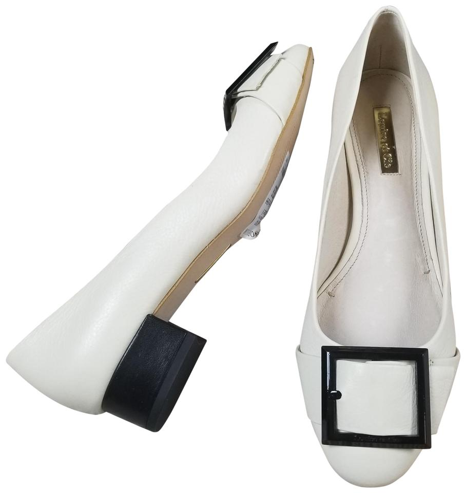9c59b1e1e57 Louise et Cie White 8m Briana Leather Block Heel Slip On Pumps Size ...