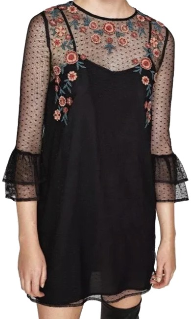 Preload https://img-static.tradesy.com/item/23105273/zara-black-match-lining-bell-short-casual-dress-size-12-l-0-1-650-650.jpg