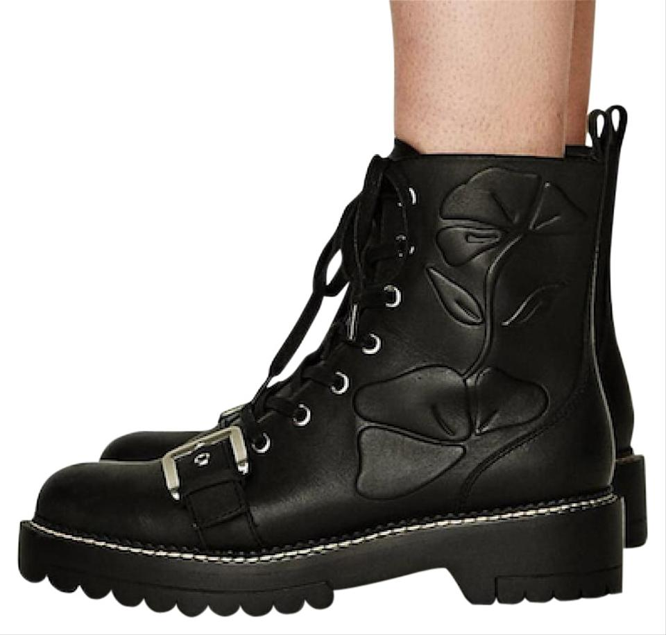 fa2f012e908 Zara Black Leather Buckle Lace Up Combat Floral Embossed Boots/Booties Size  US 5 Regular (M, B)