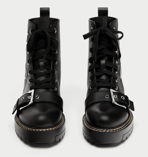Zara Floral Buckle Embossed Lace Up Military black Boots