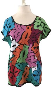 none Otomi Mexican Embroidery Embroidery Embroidered Huipil Top multi