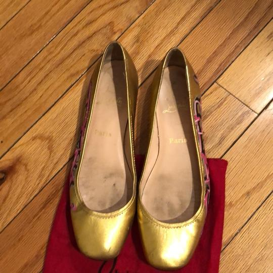 Christian Louboutin gold with pink design Flats
