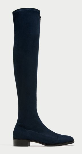 Zara Zip Up Zipper Knee High blue Boots