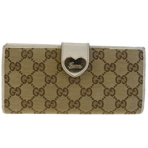 Gucci GUCCI GG Pattern Heart Long Bifold Wallet Purse Canavs Leather Brown