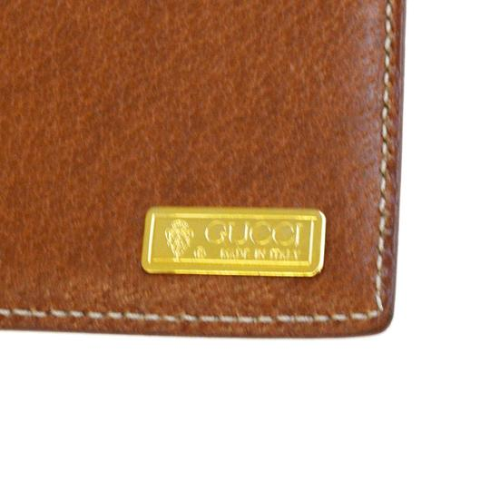 Gucci GUCCI Logo Long Bifold Wallet Purse Leather Brown Gold Italy