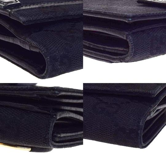 Gucci GUCCI GG Pattern Bifold Wallet Purse Canvas Leather Black Italy